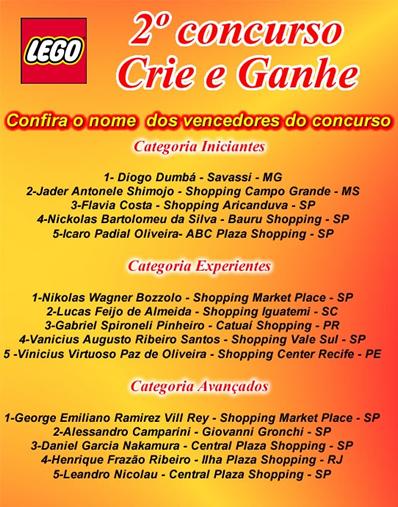 Vencedores Concurso Crie e Ganhe - LEGO e RiHappy